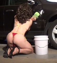 Candy's Bikini Car Wash! On my knees wearing very little, and always hot to...