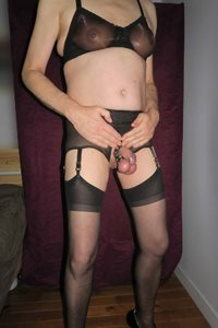 Aline travestie en lingerie