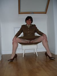 I've joined the Army, but I still love to spread my legs and show everyone ...