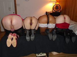 2021-10-02 Party: Asses on parade. Left to right Jazmine (CD), Marcella (CD...