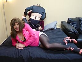 2021-10-02 Party: Jazmine striking a sultry pose with Zally and Allanah goi...