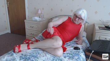 Wearing my red dress.