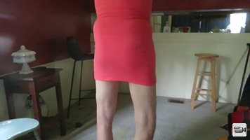 My tight red dress with no panties shows my womanly hips and bottom.