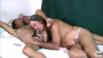 T-Girl Michelle loves to have Jamie suck her prick.